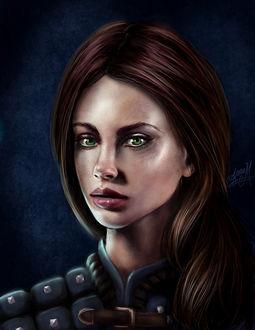 Фото Девушка с коричневыми волосами и зелеными глазами / арт на игру Dragon Age, by Jinxiedoodle