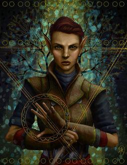Фото Эльфийка с коричневыми волосами / арт на игру Dragon Age, by Jinxiedoodle