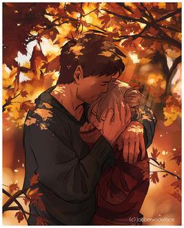 Фото Парень, прижимая к себе, целует в голову девушки на фоне осенних листьев, by Jabberwockyface