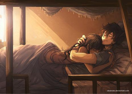 Фото Парень обнимает девушку лежа в постели, by Jabberwockyface