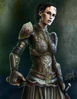 Фото Девушка в доспехах с кинжалом в руке / арт на игру Dragon Age, by Jinxiedoodle