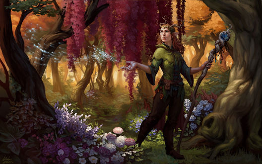 Фото Эльфийка с посохом в руке стоит в лесу / арт на веб-сериал Critical Role, by Darantha