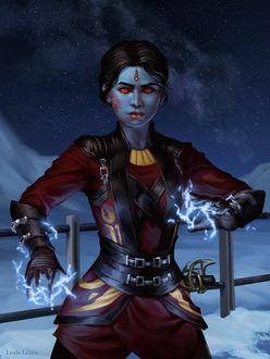 Фото Девушка из рассы чиссов с электрическими разрядами на руках - персонаж вселенной Звездных войн, by Darantha