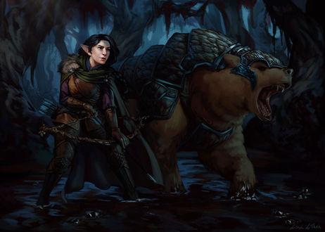 Фото Эльфийка с луком рядом с бронированным медведем / арт на веб-сериал Critical Role, by Darantha