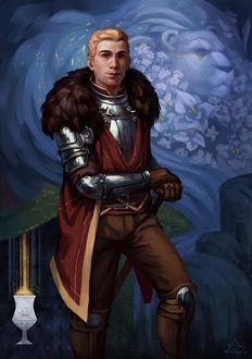 Фото Мужчина в доспехах на фоне цветочного льва / арт на игру Dragon Age, by Darantha