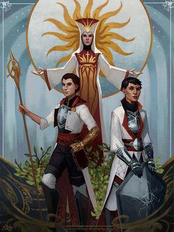 Фото Девушка в белых одеяниях развела руки в стороны над двумя парнями / арт на игру Dragon Age, by Darantha