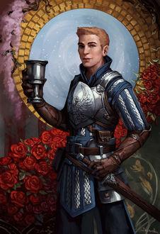 Фото Мужчина в доспехах с кубком в руке / арт на игру Dragon Age, by Darantha