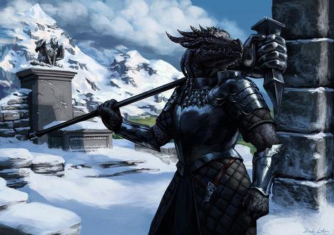 Фото Драконорожденный в доспехах и с оружием на плечах / арт на игру The Elder Scrolls V: Dragonborn, by Darantha