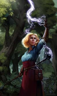 Фото Светловолосая девушка с посохом в руке колдует в лесу / арт на игру Dragon Age, by Darantha