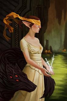 Фото Эльфийка с завязанными глазами стоит рядом с волком / арт на игру Dragon Age, by Darantha