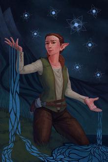 Фото Из рук эльфийки льется вода / арт на игру Dragon Age, by Darantha