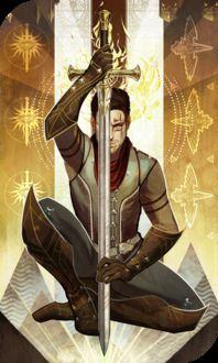 Фото Мужчина в доспехах с мечем в руках / арт на игру Dragon Age, by katorius