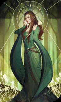 Фото Эльфийка в зеленом платье с розой в руках, у которой возле лица сидит фенек / арт на игру Dragon Age, by katorius