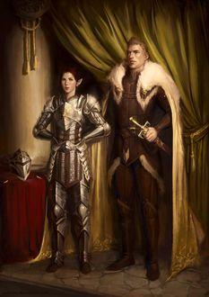 Фото Мужчина и эльфийка в доспехах / арт на игру Dragon Age, by katorius