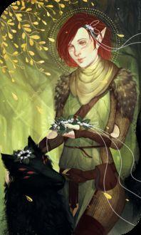 Фото Рыжеволосая эльфийка с черным волком / арт на игру Dragon Age, by katorius