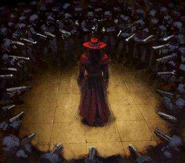 Фото Алукард / Alucard стоит спиной в центре, окруженный вооруженными солдатами, из аниме Хеллсинг / Hellsing