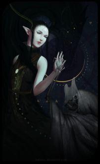 Фото Темноволосая эльфийка прикасается к скелету / арт на игру Dragon Age, by katorius