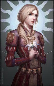 Фото Светловолосая девушка держит в руках лилию / арт на игру The Witcher 3: Wild Hunt / Ведьмак 3: Дикая Охота, by katorius