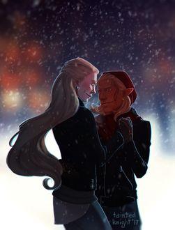 Фото Девушка и парень эльф обнимаются под снегом / арт на игру Dragon Age, by tainted-knight