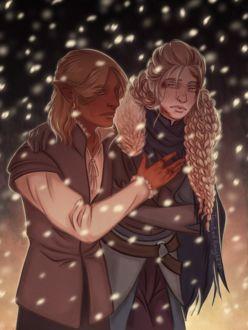 Фото Светловолосая девушка и мужчина эльф под снегом / арт на игру Dragon Age, by tainted-knight