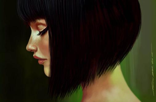 Фото Темноволосая девушка с короткой стрижкой и закрытыми глазами стоит в профиль, by nosoart