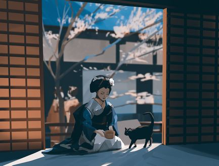 Фото Девушка сидит перед котом, by snatti89