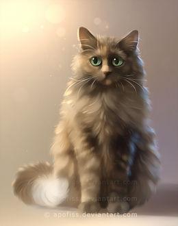 Фото Пушистая кошка с зелеными глазами, by Apofiss
