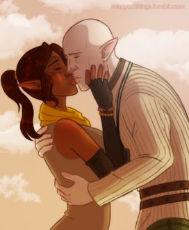 Фото Эльфы целуются / арт на игру Dragon Age, by CapricornSun83