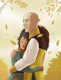 Фото Эльфы обнимаются / арт на игру Dragon Age, by CapricornSun83
