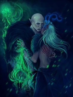 Фото Эльфы обнимаются / арт на игру Dragon Age, by mappeli