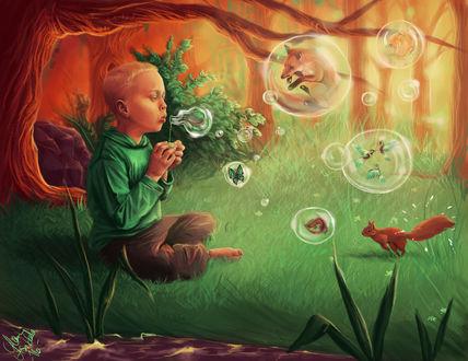 Фото Ребенок сидит в лесу на траве и пускает мыльные пузыри, внутри которых разные животные, by mappeli
