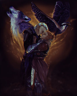 Фото Рыжеволосая девушка и мужчина эльф обнимаются на фоне волка и орла / арт на игру Dragon Age, by mappeli