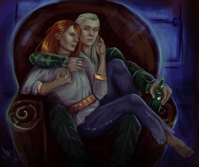 Фото Мужчина и девушка обнимаются сидя в кресле, by mappeli