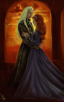 Фото Светловолосый мужчина и рыжеволосая девушка обнимаются, by mappeli