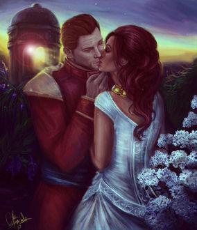 Фото Мужчина и девушка целуются / арт на игру Dragon Age, by mappeli