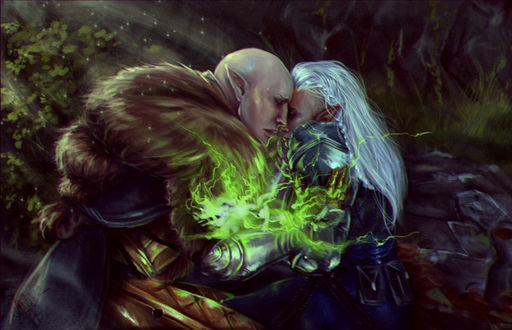 Фото Эльфы обнимаются в лечу / арт на игру Dragon Age, by mappeli