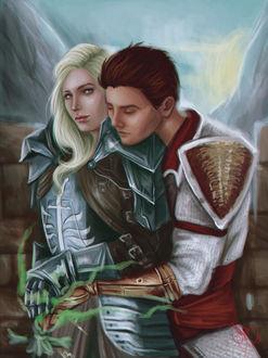 Фото Мужчина обнимает девушку в доспехах / арт на игру Dragon Age, by mappeli