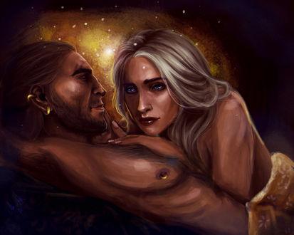 Фото Обнаженные мужчина и девушка / арт на игру Dragon Age, by mappeli
