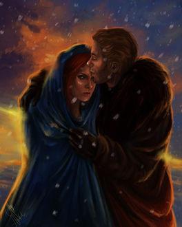 Фото Мужчина обнимает и целует девушку под снегом / арт на игру Dragon Age, by mappeli