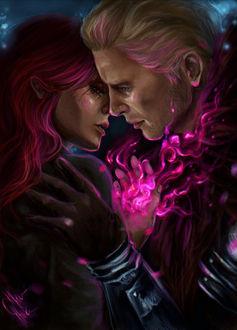 Фото Мужчина и девушка обнимаются / арт на игру Dragon Age, by mappeli