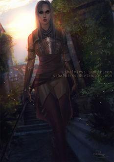 Фото Девушка в доспехах с посохом / арт на игру Dragon Age, by Sabalmirss