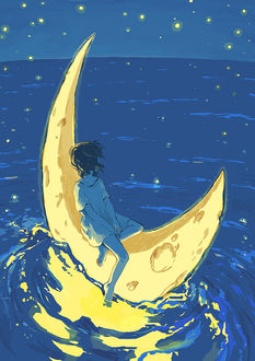 Фото Девочка плывет по воде на полумесяце