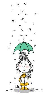 Фото Смешная девочка с мышкой на голове, с книгой в руке под зонтом с падающими буквами в виде дождя