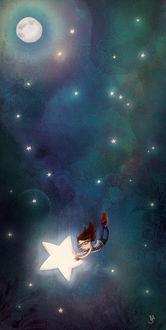Фото Девочка со звездой в руках летит вниз