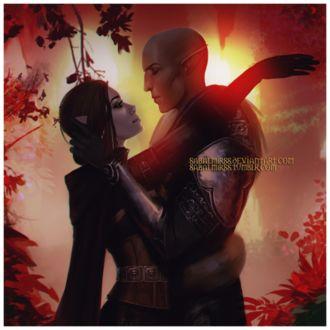Фото Эльфы обнимаются / арт на игру Dragon Age, by Sabalmirss