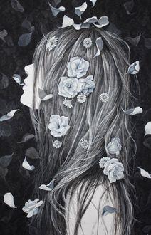 Фото Девушка с цветами в волосах, художник Karin IWABUCHI