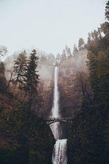 Фото Высокий водопад Малтнома / Multnomah в штате Орегон, США / Oregon, USA
