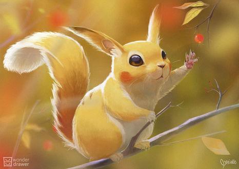 Фото Пикачу / Pikachu в виде белочки пытается сорвать с ветки ягодку, персонаж из аниме Pokemon / Покемон, by JaimeQuianoJr