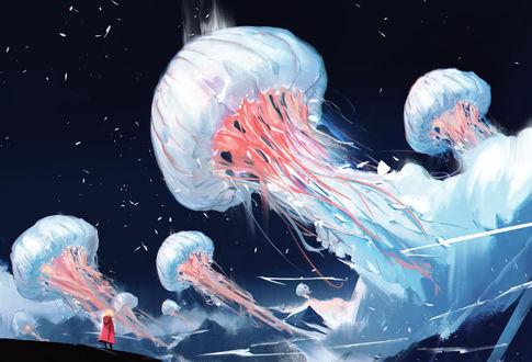 Фото Человек наблюдает за огромными медузами парящими в ночном небе, by wacalac