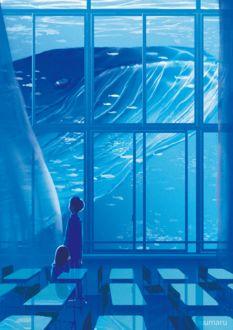 Фото Школьники смотрят на кита за окном
